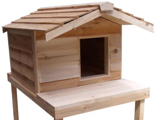 LARGE INSULATED CEDAR OUTDOOR CAT HOUSE WITH PLATFORM in Pet Supplies, Cat Supplies, Furniture & Scratchers | eBay
