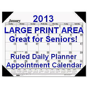 Printable Calendars 2013 Monthly on Large Print 2013 Monthly Desk Pad Calendar Daily Ruled Schedule