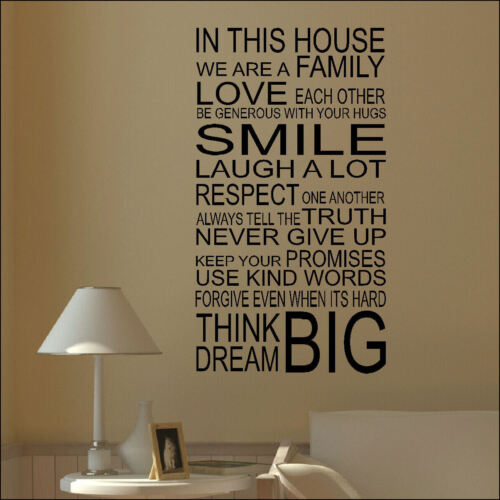 LARGE QUOTE HOUSE RULES FAMILY LOVE SMILE 100CMx55CM WALL ART STICKER TRANSFER in Home, Furniture & DIY, Home Decor, Wall Decals & Stickers | eBay