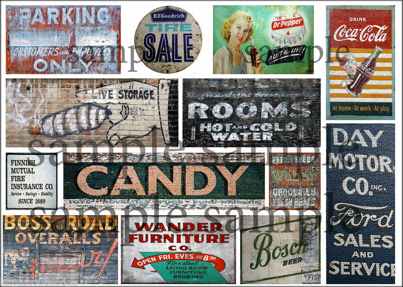 LARGE SHEET HO SCALE WEATHERED BUILDING SIGN DECALS #13