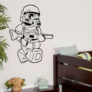 Large Star Wars Lego Men Storm Trooper Bedroom Wall Art Sticker Transfer Deca