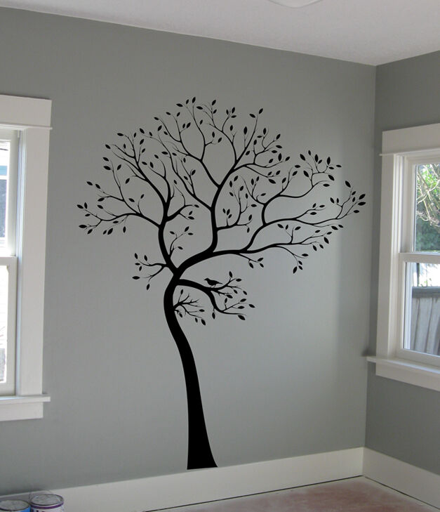 Large wall decal tree with bird deco art sticker mural for Black tree mural