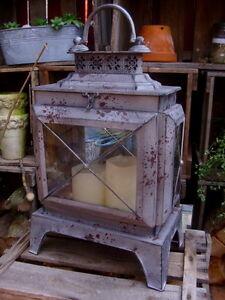 Laterne gartenlaterne windlicht metall glas shabby landhausstil gartendeko neu ebay - Shabby gartendeko ...