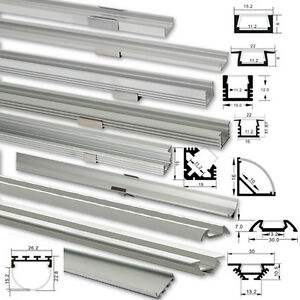 led alu profil 1m 2m aluprofil aluminium abdeckung f r led streifen ebay. Black Bedroom Furniture Sets. Home Design Ideas
