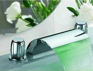 Waterfall Bathroom Faucet on Led Bathroom Tap Sink Bath Tub Waterfall Faucet Chrome 3 Piece Set