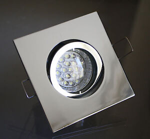 led deckenleuchten einbaustrahler downlight set chrom 4 eckig 20led gu10 230v ebay. Black Bedroom Furniture Sets. Home Design Ideas