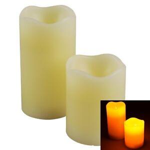 LED-Echtwachs-Kerzen-Set-weiss-Timer-Ausblasfunktion-Wachskerze-Flackerlicht