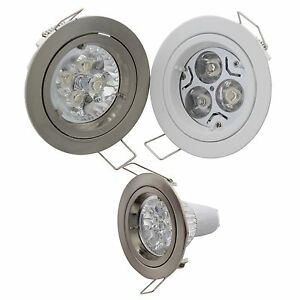 led einbaustrahler rund 68mm bohrung 3w 4w 5w gu10 230v mr16 12v set spot lampe ebay. Black Bedroom Furniture Sets. Home Design Ideas