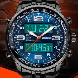 LED-Herren-Uhr-Armbanduhr-Blau-Edelstahl-Quarzuhr-Wasserdicht-Sportuhr-DE