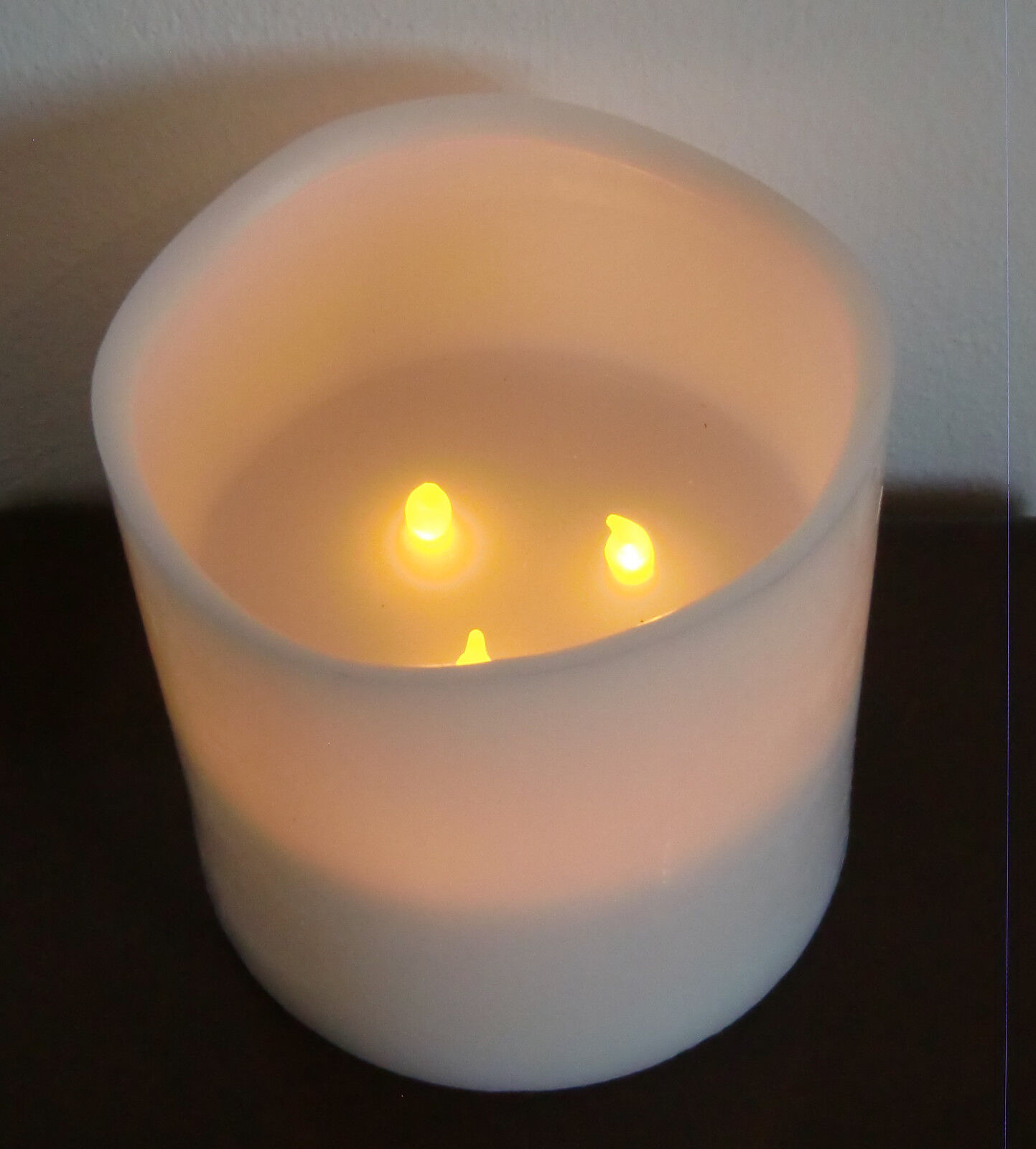 1 led kerzen echtwachskerzen gro wei creme 3 flammig 15 x 15 cm ebay. Black Bedroom Furniture Sets. Home Design Ideas