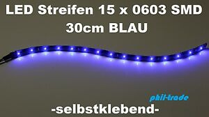 led leiste balken lichtleiste 12v xenon blau 30cm 15 x 0603 smd selbstklebend ebay. Black Bedroom Furniture Sets. Home Design Ideas