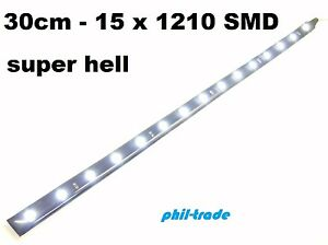 led leiste strip lichtleiste 12v xenon wei 30cm 15 x 1210 smd selbstklebend ebay. Black Bedroom Furniture Sets. Home Design Ideas