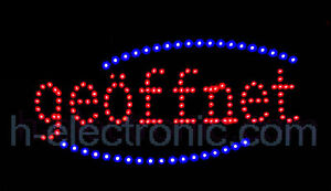 led schild neon leuchtreklame ge ffnet open schilder rot reklam blinken ebay. Black Bedroom Furniture Sets. Home Design Ideas