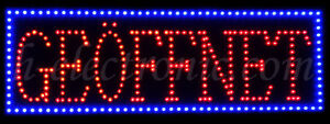 led schild neon leuchtreklame ge ffnet open schilder blinken hell xxl offen ebay. Black Bedroom Furniture Sets. Home Design Ideas