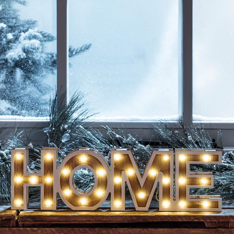 led schriftzug home 3d buchstaben aus holz timer batterie. Black Bedroom Furniture Sets. Home Design Ideas