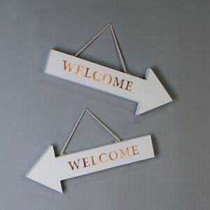 led schriftzug 39 welcome 39 holz wei l nge 50cm wand deko pfeil nach links neu ebay. Black Bedroom Furniture Sets. Home Design Ideas