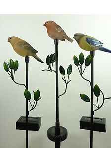 led solarleuchten vogel als 3er set mit erdspie solarfiguren gartendekoration ebay. Black Bedroom Furniture Sets. Home Design Ideas