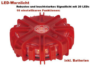 LED-Warnleuchte-Warnlicht-Signallicht-Signalleuchte-20-LEDs-Rot-10-Funktionen-W1