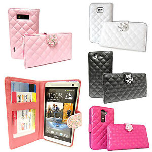 LEDER-Tasche-mit-Schmuck-ROSE-STRASS-Bling-Flip-Case-Cover-HULLE-schale-glamour