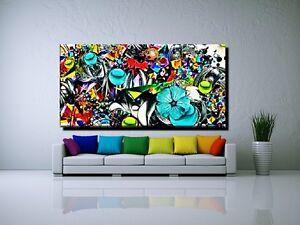 leinwand bild xxl pop art graffiti abstrakt blumen rot. Black Bedroom Furniture Sets. Home Design Ideas