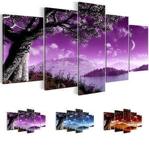 leinwand bilder bild xxl kunstdruck landschaft 200x100 rot lila 5tlg 6013532 ebay. Black Bedroom Furniture Sets. Home Design Ideas