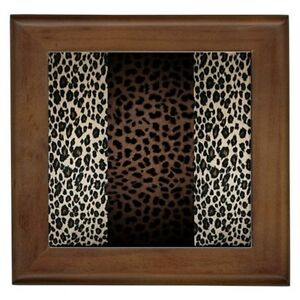 LEOPARD ANIMAL PRINT FRAMED TILE HOME WALL DECOR TILED