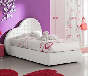 Letto singolo cuore bambina imbottito ecopelle rosa bianco for Letto singolo imbottito