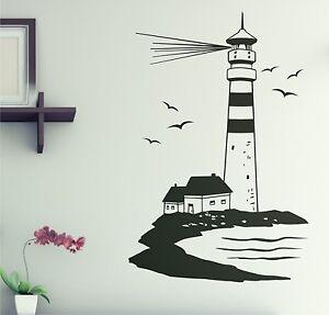 leuchtturm maritim wandaufkleber wandtattoo w2 90cm ebay. Black Bedroom Furniture Sets. Home Design Ideas