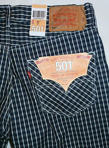 LEVIS-501-JEANS-STRAIGHT-LEG-BUTTON-FLY-mens-SHORTS-SIZE-36-BLUE-WHITE-PLAID
