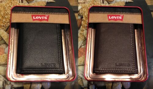 LEVI'S GENUINE BLACK OR BROWN LEATHER TRIFOLD MENS WALLET | NEW IN BOX in Clothing, Shoes & Accessories, Men's Accessories, Wallets | eBay