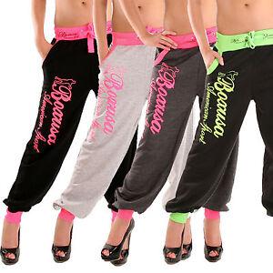 LH12-Jogginghose-Trainingshose-Damen-Laufhose-Sporthose-HOSE-Stoffhose-SeXy-Neon