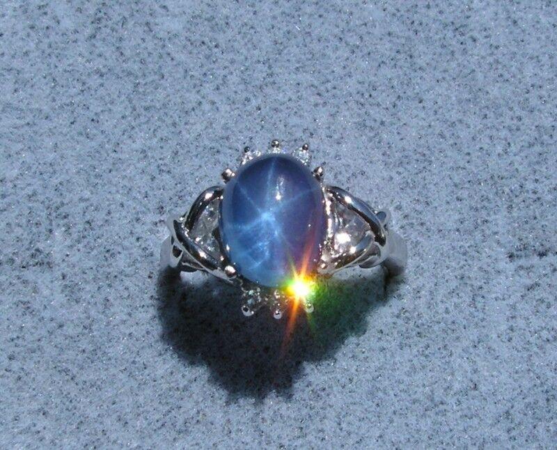 LINDE LINDY TRN TWILITE BLUE STAR SAPPHIRE CREATED RING