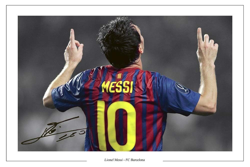 Lionel Messi Barcelona Autograph Signed Photo Print