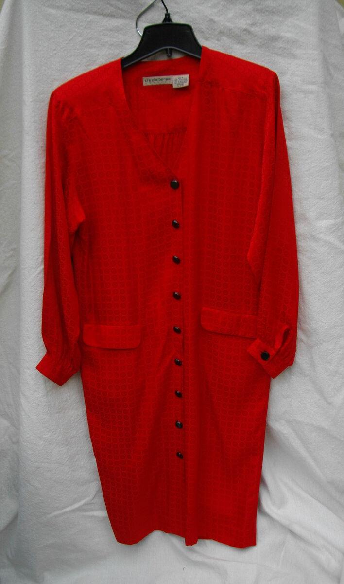 d67f2df61b4951 Liz Claiborne Vintage Red Silk Shirt Dress Womans 10 Vintage Retro 80s