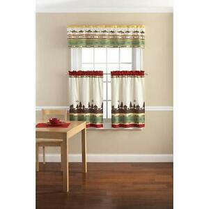 Lodge cabin fishing outdoor themed kitchen window curtains for Fish curtains for windows