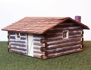 Cabins Kits on Log Cabin Ho Hon3 Model Railroad Structure Unpainted Wood Laser Kit