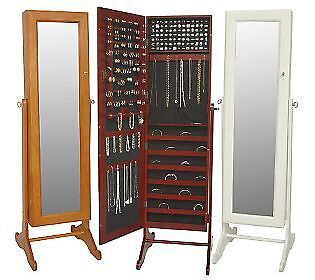 LORI-GREINER-Safekeeper-Mirrored-Jewelry-Cabinet-CHERRY-NEW