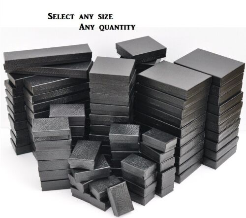 LOT of 20~50~100 BLACK BOXES BLACK COTTON FILLED GIFT BOX WHOLESALE JEWELRY BOX in Jewelry & Watches, Jewelry Boxes & Organizers, Jewelry Boxes | eBay