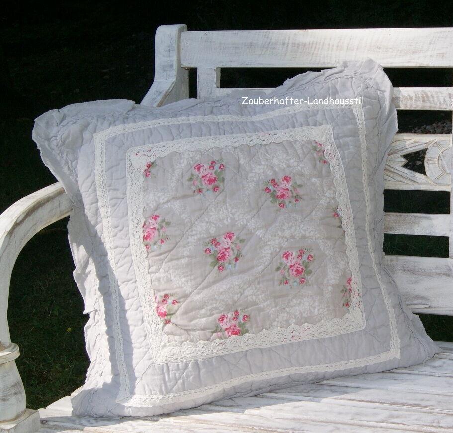 louisa tagesdecke 180x260 grau rosa plaid quilt shabby landhaus ebay. Black Bedroom Furniture Sets. Home Design Ideas