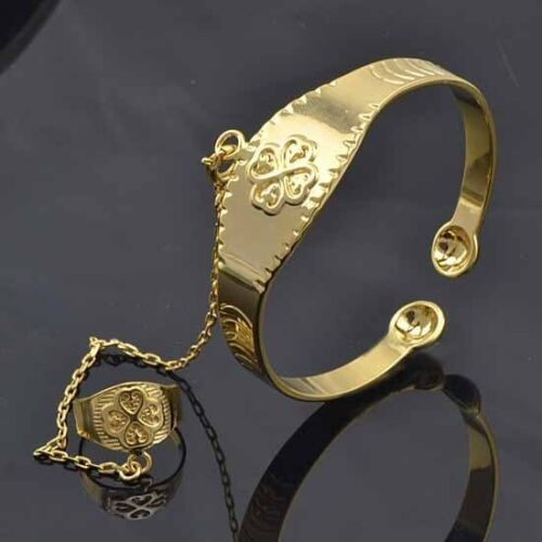 LOVELY 9K SOLID GOLD FILLED Lucky Baby Set Cuff and Ring, M078 in Jewelry & Watches, Children's Jewelry, Bracelets | eBay