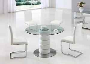 LUGANO GLASS LEATHER DINING ROOM TABLE AND 4 CHAIRS SET FURNITURE IJ654 817