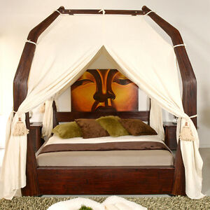 luxus himmelbett 180x200 toraja doppelbett bambus bett rattan designer exklusiv ebay. Black Bedroom Furniture Sets. Home Design Ideas