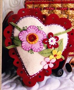 Heart Pin Cushion Sachet Wool Felt Applique Sewing Accessory Pattern ...