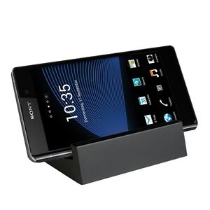 Lade-Station-fuer-Sony-Xperia-Z1-Magnet-Dockingstation-Dock-Schwarz-Tisch-Lader