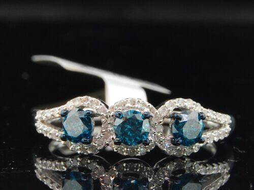 Ladies 10K White Gold 3 Stone Blue Diamond Engagement Ring Wedding Bridal Set in Jewelry & Watches, Engagement & Wedding, Engagement Rings | eBay