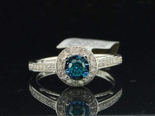 Ladies 10K White Gold Halo Set Blue Diamond Engagement Ring Bridal Set 0.40 Ct. in Jewelry & Watches, Engagement & Wedding, Engagement Rings | eBay