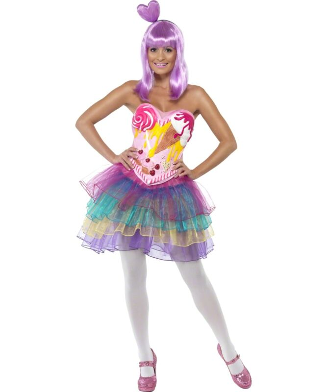 Ladies candy queen katy perry fancy dress costume xs s m l