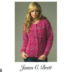 Details about Ladies Chunky Aran Style Cardigan Knitting Pattern (32