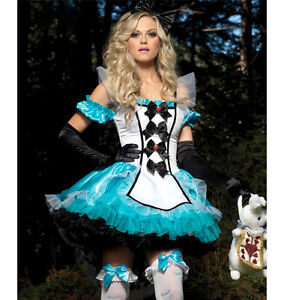 Ladies-Deluxe-Alice-in-Wonderland-Fancy-Dress-Costume-Size-8-10