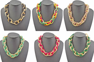 Ladies-Golden-Chunky-Circle-Hoop-Snake-Chain-Bib-Statement-Collar-Necklace